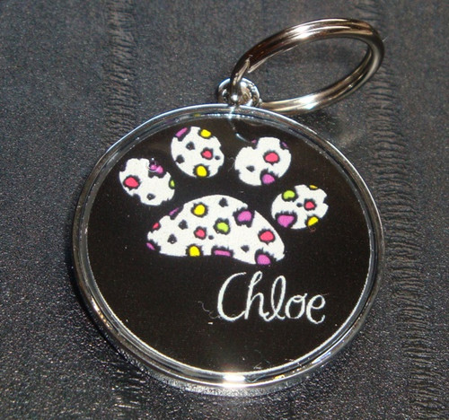 Retro Cheetah Pawprint Name Pet ID Tag