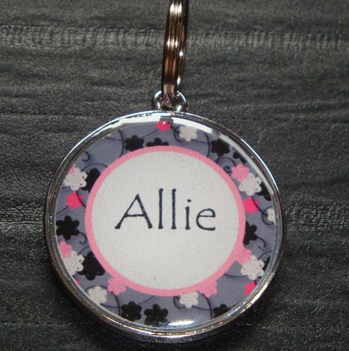 Pink & Grey Blossom Name Pet ID Tag