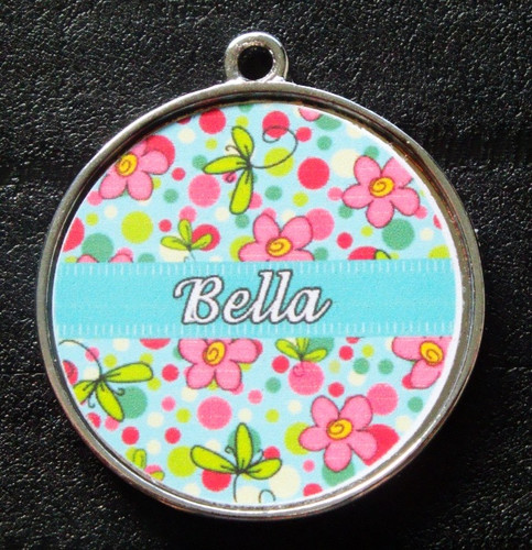 Blue Bubblegum Garden Pet ID Tag w/ Pet's Name