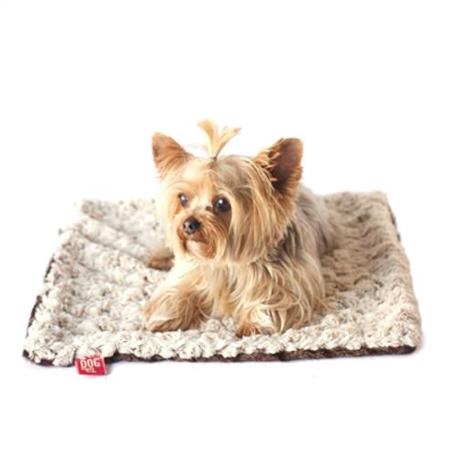 Ivory/Brown Two Tone Rosebud Minkie Binkie Blanket