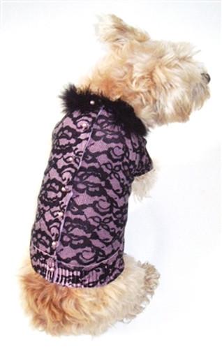 Bardot Lace Button Back Cotton Blend Cardigan