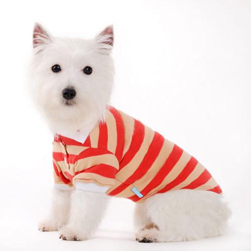 Dogo Dog Stripe Polo Shirt Red - Free Shipping