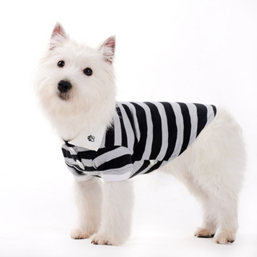 Dogo Dog Stripe Polo Shirt Grey - Free Shipping