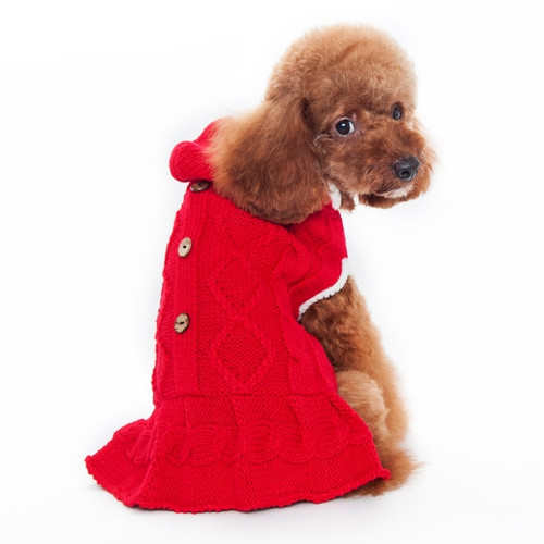 Red Cable Hoodie Sweater Dress