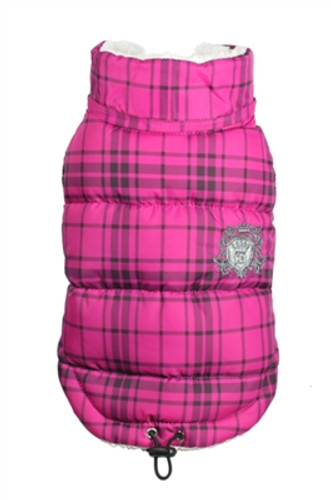 Plaid Sherling Puffer Vest - Pink
