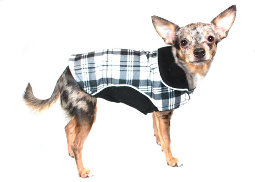 Reversible Polar Fleece Wrap Coat - Black Plaid