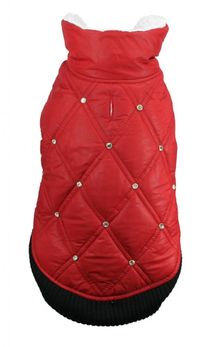 HD Rhinestone Puffer Vest - Red
