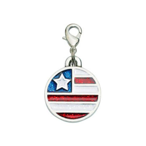 American Flag Dog Charm