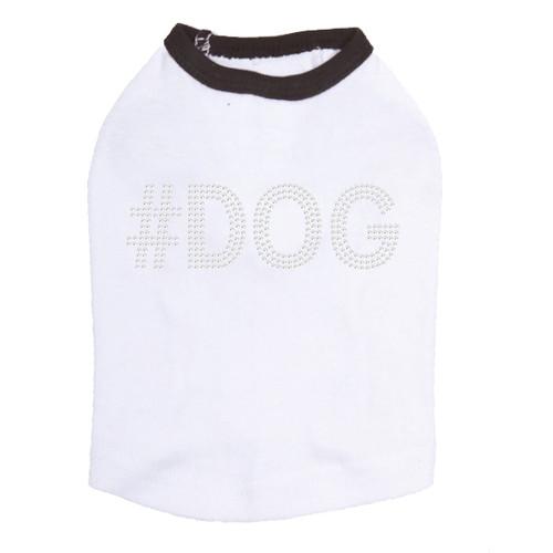 #DOG - Rhinestone - Dog Tank - White/Black Trim