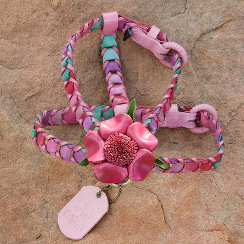 Multicolor Pink Leather Dog Harness with Hot Pink Flower Attachment