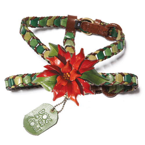 Shades of Green Leather Dog Harness with Poinsettia Attachment