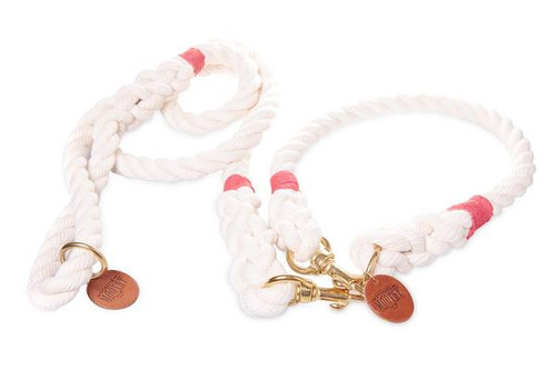 Natural White Dog Collar - Red Hemp Twine