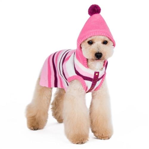 Uneven Stripe Hoodie Sweater - Pink