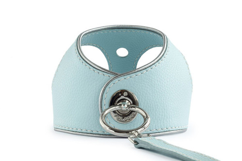 Silver Blue Leather Dog Harness