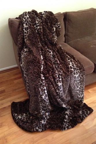Reversible Dark Brown Leopard Luxurious Fur Throw