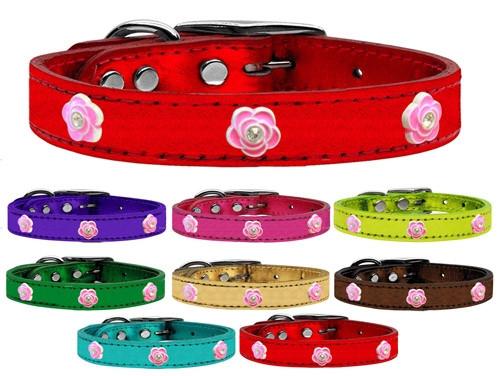Bright Pink Rose Widget Genuine Metallic Leather Dog Collar
