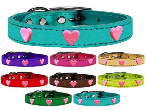 Pink Glitter Heart Widget Genuine Metallic Leather Dog Collar