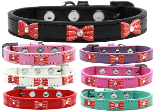 Red Glitter Bow Widget Dog Collar