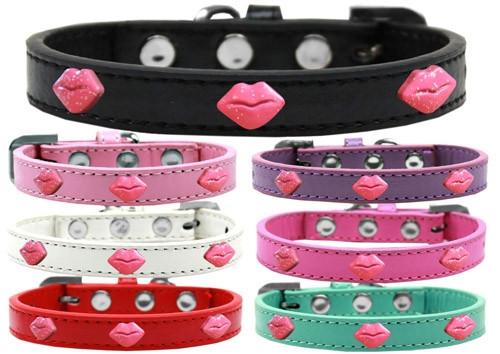 Pink Glitter Lips Widget Dog Collar