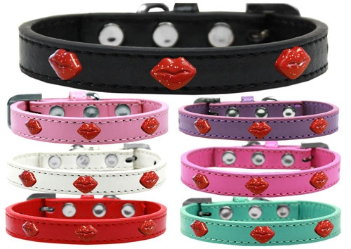 Red Glitter Lips Widget Dog Collar