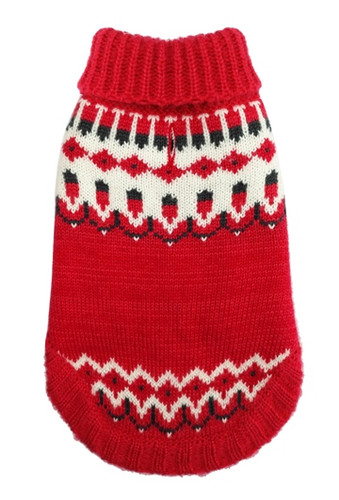 Icelandic Red Winter Dog Sweater