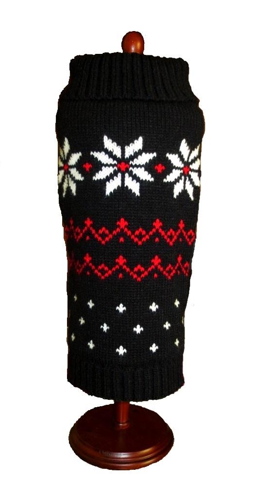 Dallas Dog Black Fair Isle Snowflake Dog Sweater for Christmas Holiday