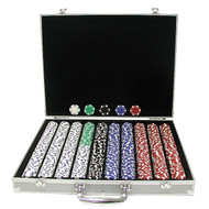 1000PC STRIPED DICE 11.5GM POKER CHIP SET WITH ALUMINUM CASE