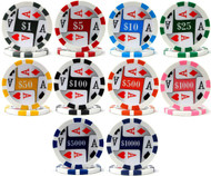 FOUR (4) ACES PREMIUM Poker Chip Sample Set - 10 Different Chips!