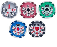 25 HIGH ROLLER POKER CHIPS WITH DENOMINATIONS - 11.5 GRAM, 39mm