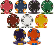 25 TRI-COLOR ACE KING CLAY POKER CHIPS - 14 Gram, 39mm