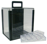 1000 CHIP CLEAR HEAVY DUTY ACRYLIC CARRYING CASE - INCLUDES 10 TRAYS!