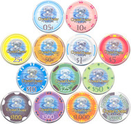 Crystal Oyster Chipco Protech Ceramic 10gm Poker Chips - 13 Chip Sample Set!