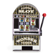 Bars and Sevens Mini Slot Machine Bank with Spinning Reels