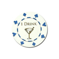 ONE (1) Drink Poker Chip Button Marker Token