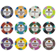 Showdown Club & Casino 13.5gm Composite Clay Poker Chip Sample Set - 12 Different Chips!