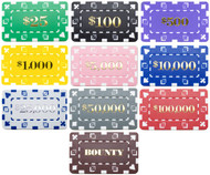 DENOMINATED RECTANGULAR Poker Chip Plaque Sample Set - 10 Different Chip Plaques!
