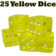 25 Translucent 16mm Casino Dice - Choose Color!