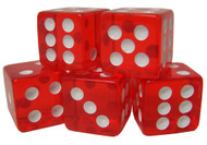 5 Translucent 16mm Casino Dice - Choose Color!
