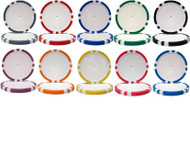 8-STRIPE DUAL COLOR CLAY 14gm 500 BULK POKER CHIPS - CHOOSE CHIPS!