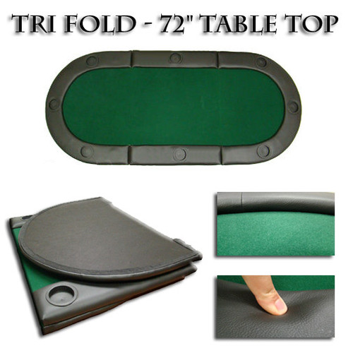 72 INCH Tri-Fold Poker Table Top w/Cup Holders - Buy Poker Direct