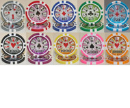 25 HIGH ROLLER LASER 14gm Poker Chips - CHOOSE!
