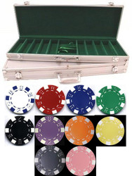 500PC STRIPED DICE 11.5GM POKER CHIP SET WITH ALUMINUM CASE