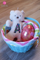 Lined Chevron Easter Baskets - Blue