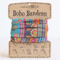 Boho Bandeau Headband  - Turquoise & Gray