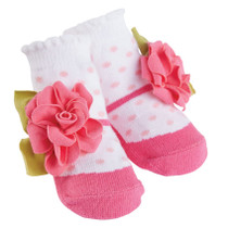 Girls Baby Socks - Pink Dot Flower