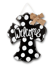 Welcome Polka Dot Cross Door Hanger
