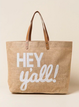 Sequin Burlap Tote Bag - Hey Y'all