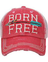 Distressed Born Free Trucker Hat - Coral