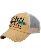 Distressed Born Free Trucker Hat - Peach