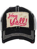 Distressed Hey Y'all Trucker Hat - Black